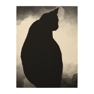Black Cat Silhouette Wood Print 18x24 customizable