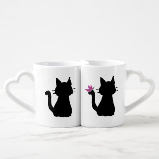 Black Cat Silhouettes with Pink Butterfly Lovers Mug