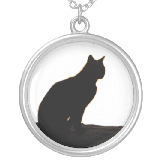 Black cat siloutte silver plated necklace