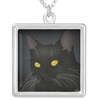 Black Cat Silver Plated Square Necklace