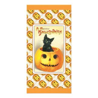 Black cat sitting in a pumpkin - halloween design customized photo card