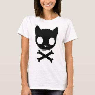 Black Cat Skull and Crossbones T-Shirt