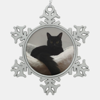 Black Cat Snowflake Pewter Christmas Ornament