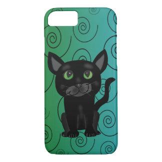 Black Cat Spiral Design Iphone Case