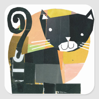 Black Cat Spooks Square Sticker
