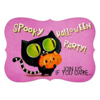 Black Cat Spooky Halloween Party Invitation