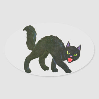 Black Cat Spooky Screamer! Oval Sticker