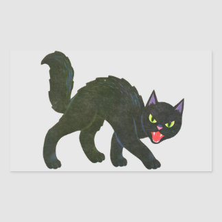 Black Cat Spooky Screamer! Rectangular Sticker