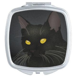Black Cat Square Compact Mirror