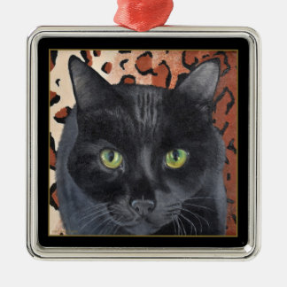 Black Cat Square Ornament