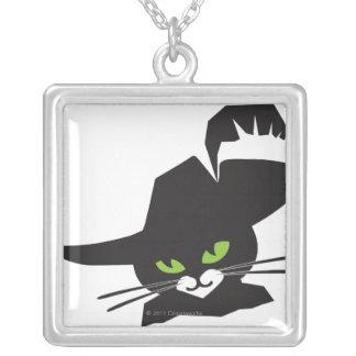 Black Cat Square Pendant Necklace