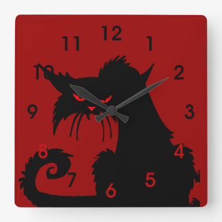 Black Cat Square Wall Clock