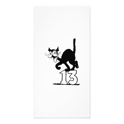 Black Cat Standing on the Number 13 Photo Greeting Card