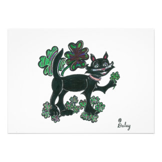 Black Cat standing over those four leaf clovers. Custom Announcement