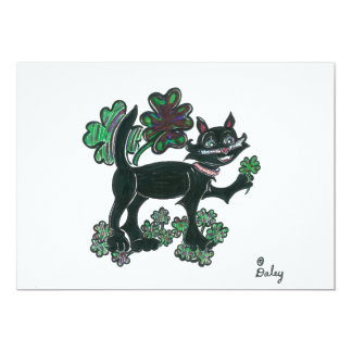 Black Cat standing over those four leaf clovers. 5x7 Paper Invitation Card