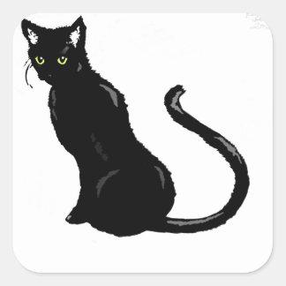 Black cat square stickers