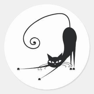 Black Cat Round Stickers