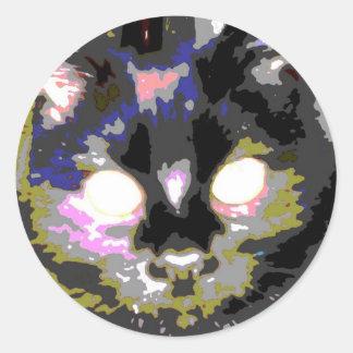 Black Cat Round Sticker