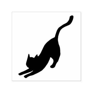 Black Cat Stretching Self-inking Stamp