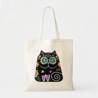 Black Cat Sugar Skull Tote Bag