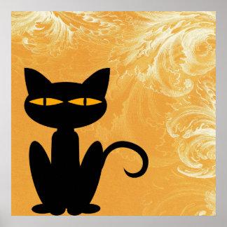 Black Cat Swirly Orange Poster