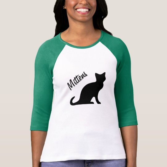 Black cat t shirt with personalizable pet name