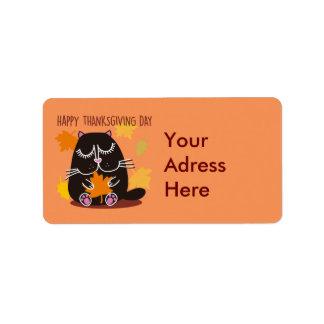 Black Cat Thanksgiving Address Label