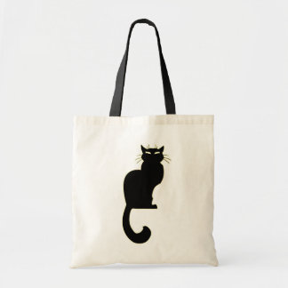 Black Cat Tote Bag Fat Cat Grocery Bag Halloween C