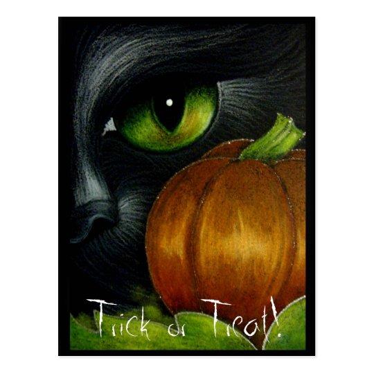 BLACK CAT TRICK OR TREAT Postcard