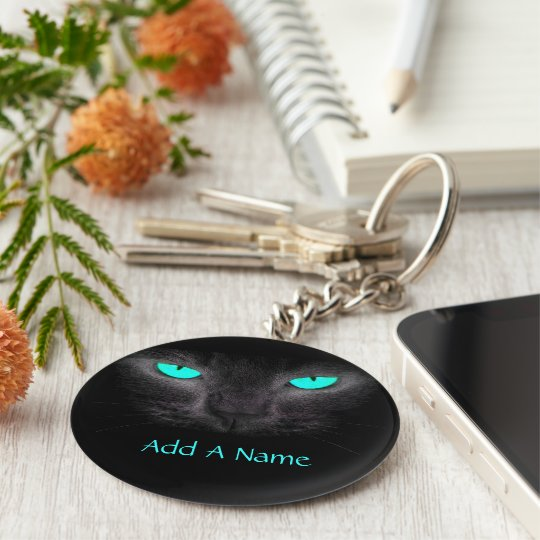 Black Cat Turquoise Eyes Keychain