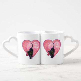 Black Cat Valentine's Day Lovers Mug Sets