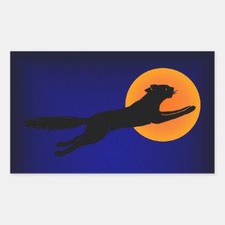 Black Cat Vintage Halloween Art Rectangle Sticker