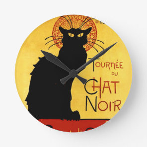 Black Cat Vintage Tournée du Chat Noir, Theophile Round Clock