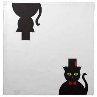 Black Cat w Top Hat Red Bow Cloth Napkins/silhouet Printed Napkins