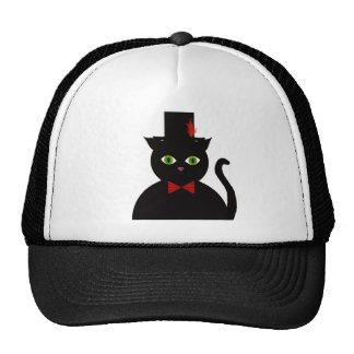 Black Cat w Top Hat Red Bow  Hat