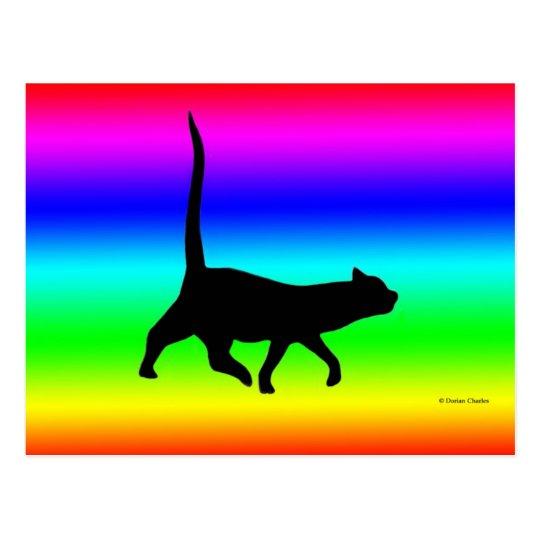 Black Cat Walkin' Post Card