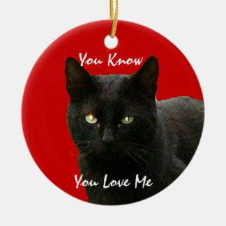 Black Cat Watching Christmas Ornament