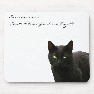 Black Cat Watching Mouse Mat