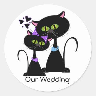 Black Cat Wedding Envelope Seal Round Sticker
