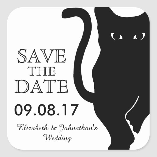 Black Cat Wedding Save The Date Square Sticker