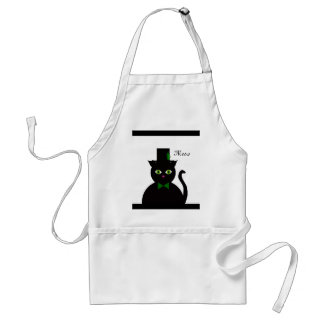Black Cat wGreen Bow/feather Standard Apron