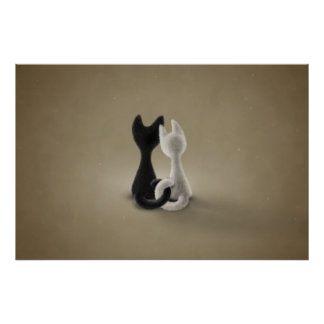 Black Cat White Cat (Color 3) Poster