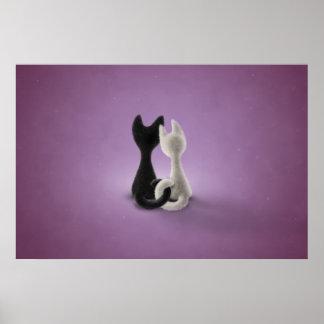 Black Cat White Cat (Color 4) Poster