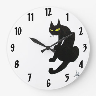 BLACK CAT  white Large Clock