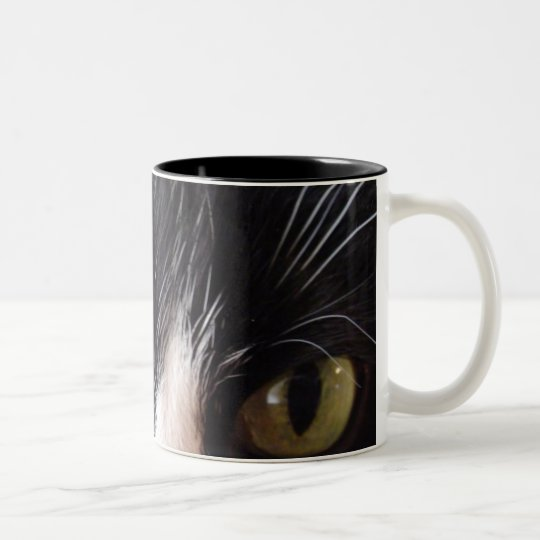 Black Cat, White Whiskers, Green Eyes Two-Tone Coffee