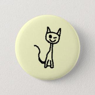 Black Cat, Winking. 6 Cm Round Badge