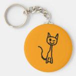 Black Cat, Winking. Keychain