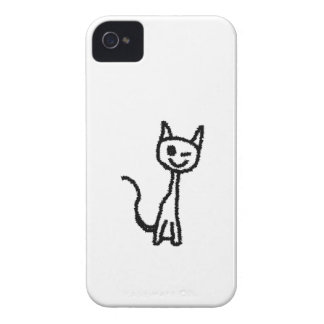 Black Cat, Winking. White background. Case-Mate iPhone 4 Case