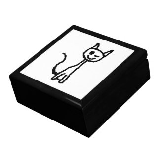 Black Cat, Winking. White background. Gift Box