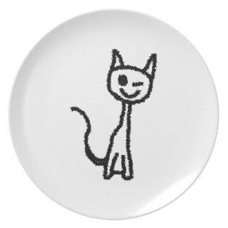 Black Cat, Winking. White background. Plate